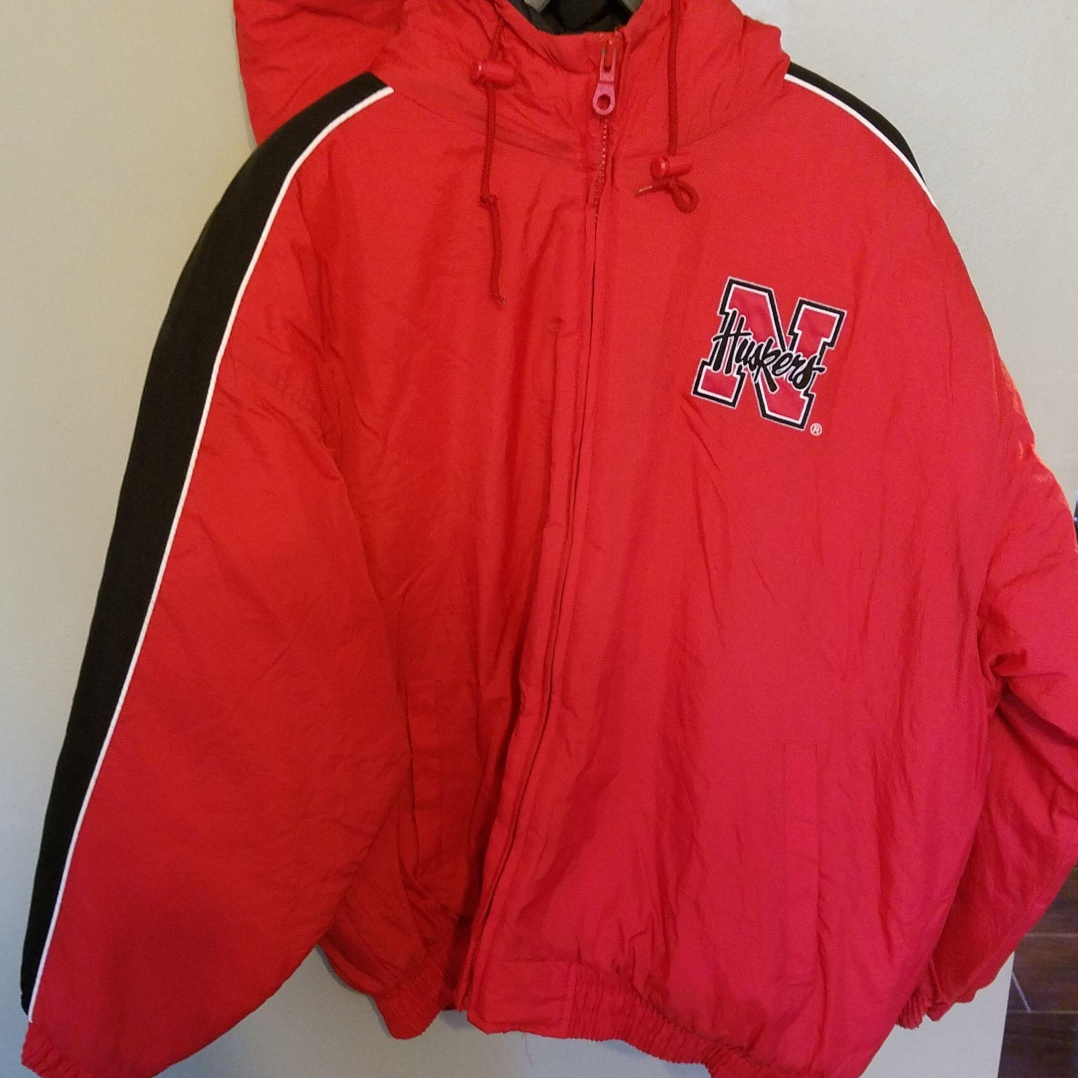 Nebraska huskers full zip vintage winter coat size xl adult products
