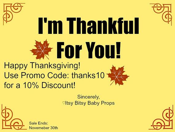 Thanksgiving Weekend Sale by ItsyBitsyBabyProps on Etsy