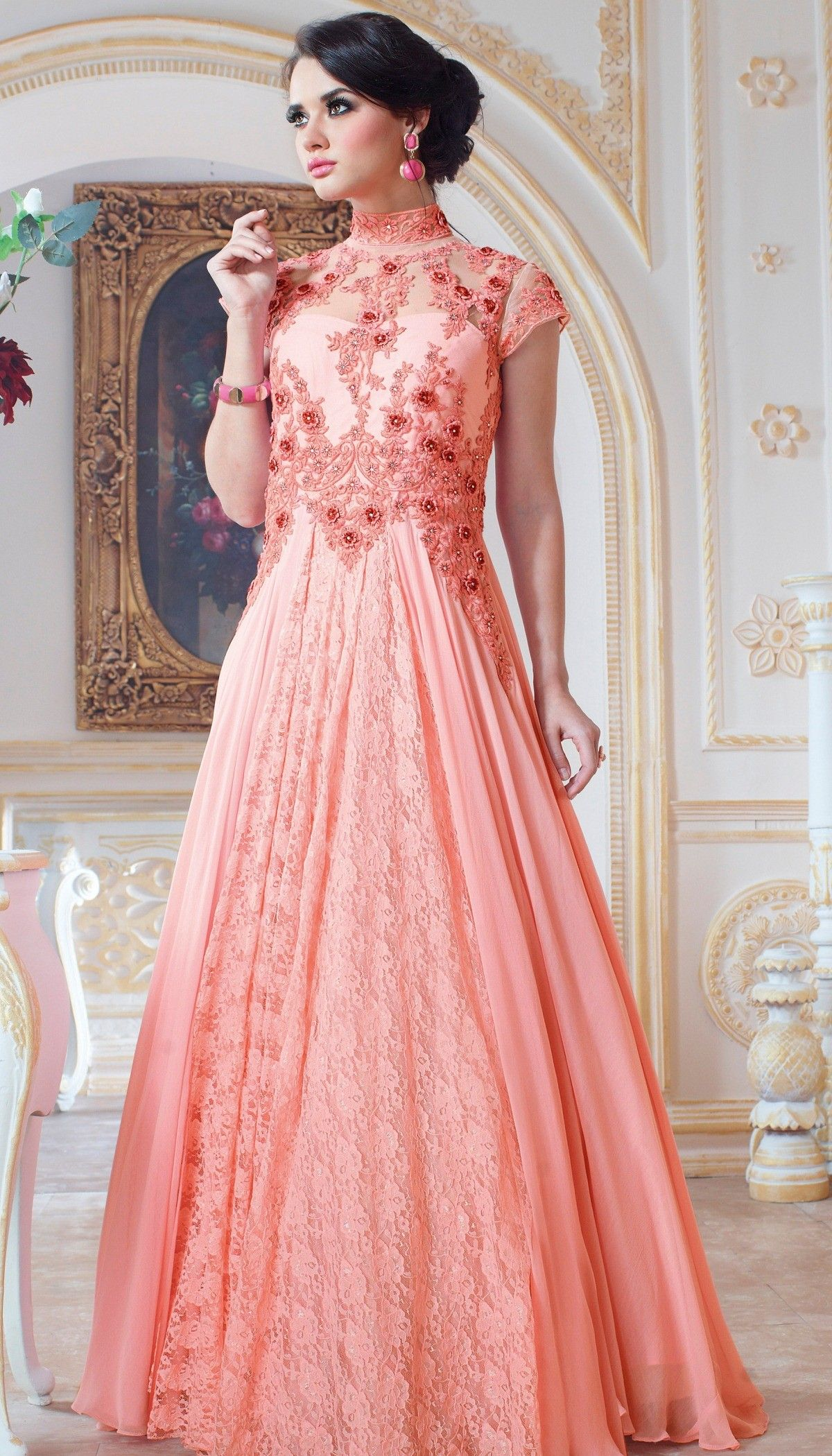 Peach Poly Georgette Resham Stone Embroidered On Neck Beautiful Semi ...