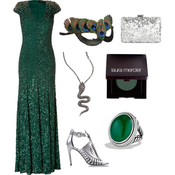 Green & Silver Masquerade by remielerichsen on Polyvore featuring Jenny Packham, Proenza Schouler, David Yurman, Zoë Chicco, Laura Mercier and Masquerade