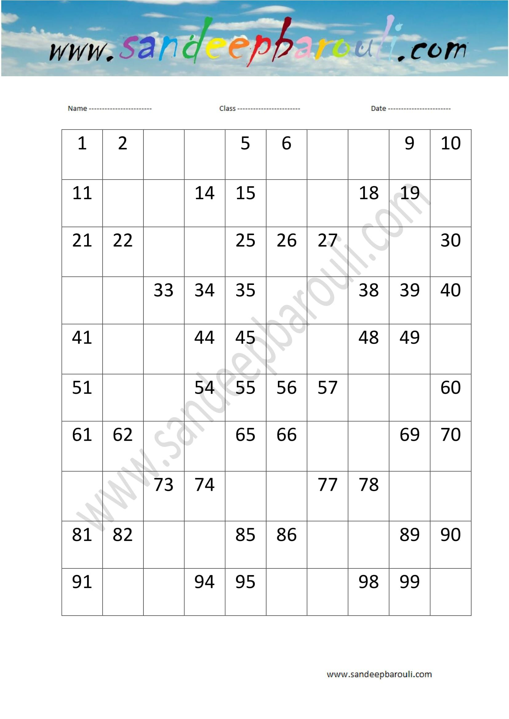 1 To 100 Counting Missing Numbers Worksheet 14