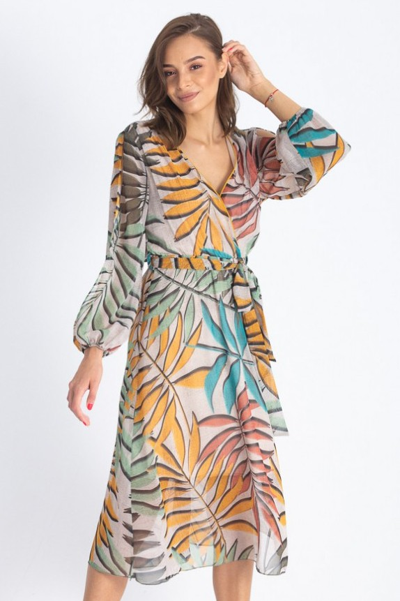 rochie de vara din voal multicolora decolteu in v lungime midi maneca lunga depicata cambrata in talie cu elastic c summer outfits dresses with sleeves outfits pinterest