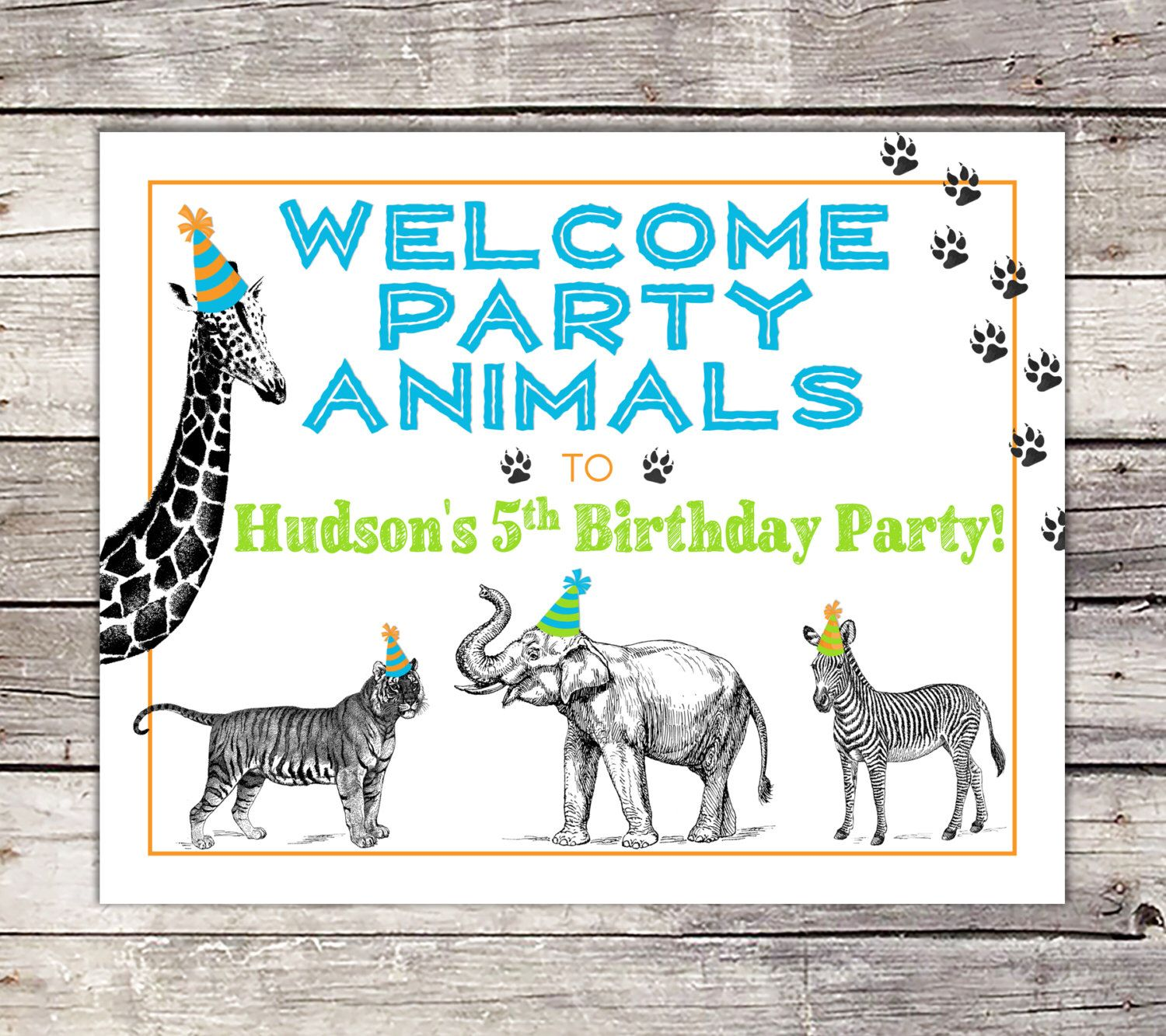 Party Animal Welcome Sign, Zoo, Party Decor Sign, Wild Animal ...