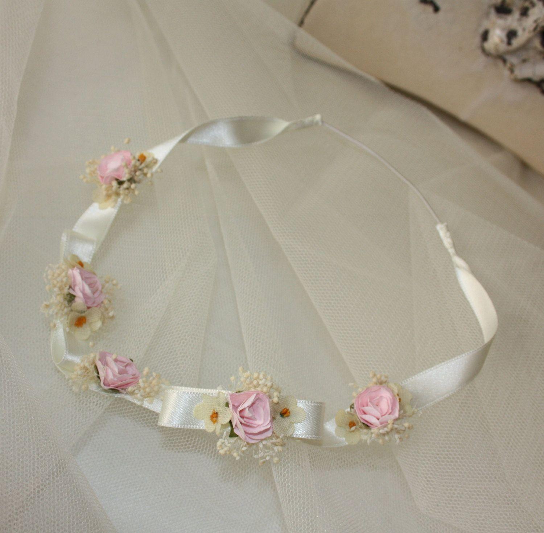 Diadema de lazos y flores diadema para bautizo diadema ni as para bodas hair ideas - Diademas para ninas ...
