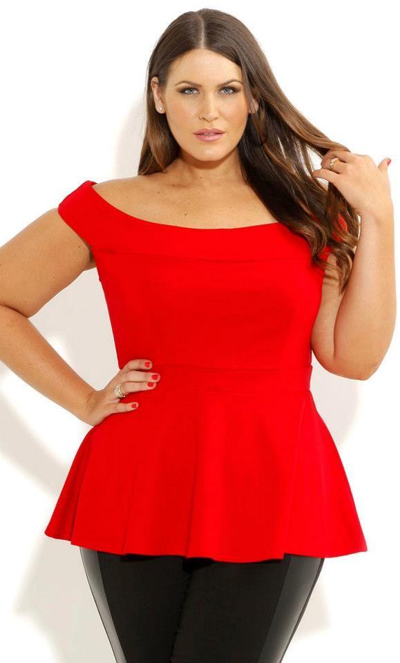 Bridgette Peplum Top - Red  CityChic  Plus Size Style
