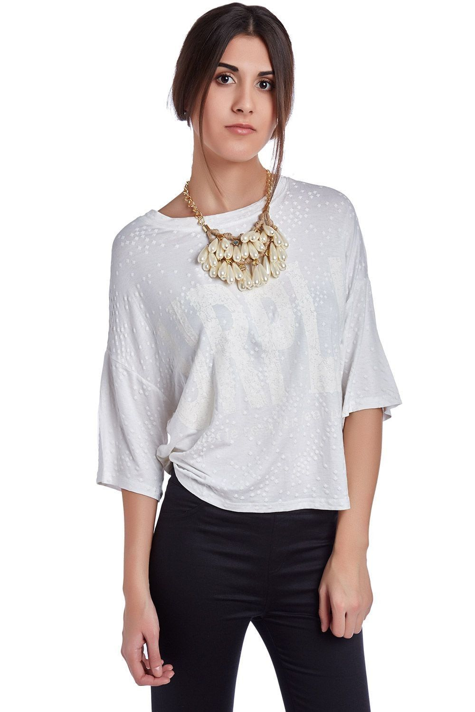 White t-shirt with urpli print