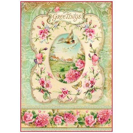 Papel De Arroz Para Decoupage Scrapbook Craft Hoja-Floral Paisajes