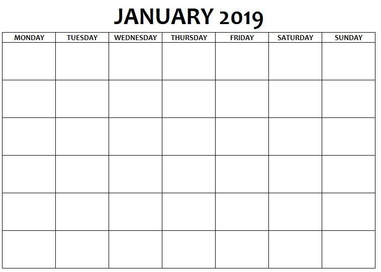 Blank Calendar January 2019 Monday to Sunday January 2019 Calendar