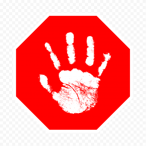 Hd White Hand Print On Red Stop Sign Png Print Stop Sign Png