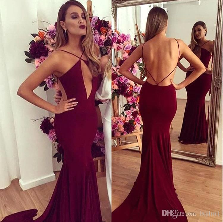 f2738379c Vestidos De Formatura Hot Sexy Borgonha Sereia Prom Dresses 2017 Sexy  Backless Celebrity Vestidos Spaghetti Straps Long Sereia Vestidos De Noite  Vestido De ...