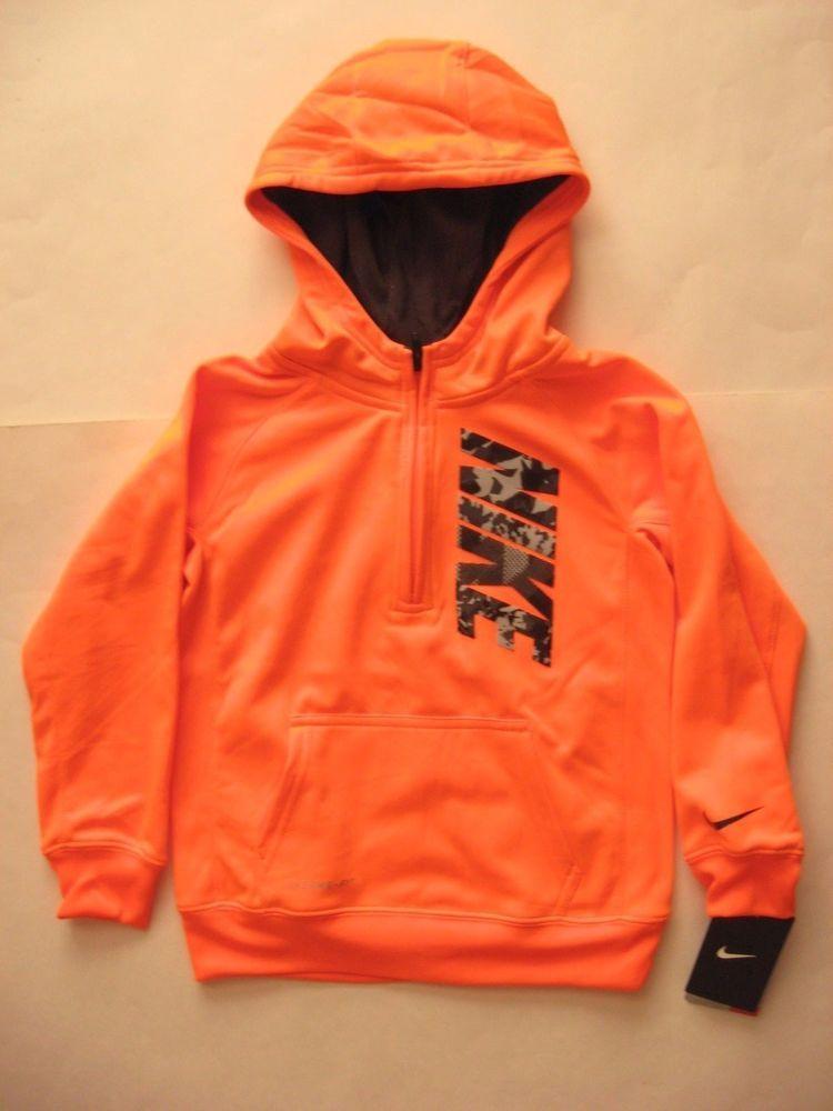 32033859b581 Nike Boys Bright Orange Hoodie Half-Zip Pullover Sweat Shirt. Size Youth  Boys 6. Machine wash.