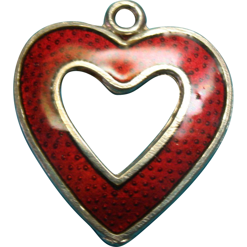 Vintage Sterling Silver Red Enameled Guilloche Open Heart Charm Vintage Sterling Silver Heart Charm Sterling Silver