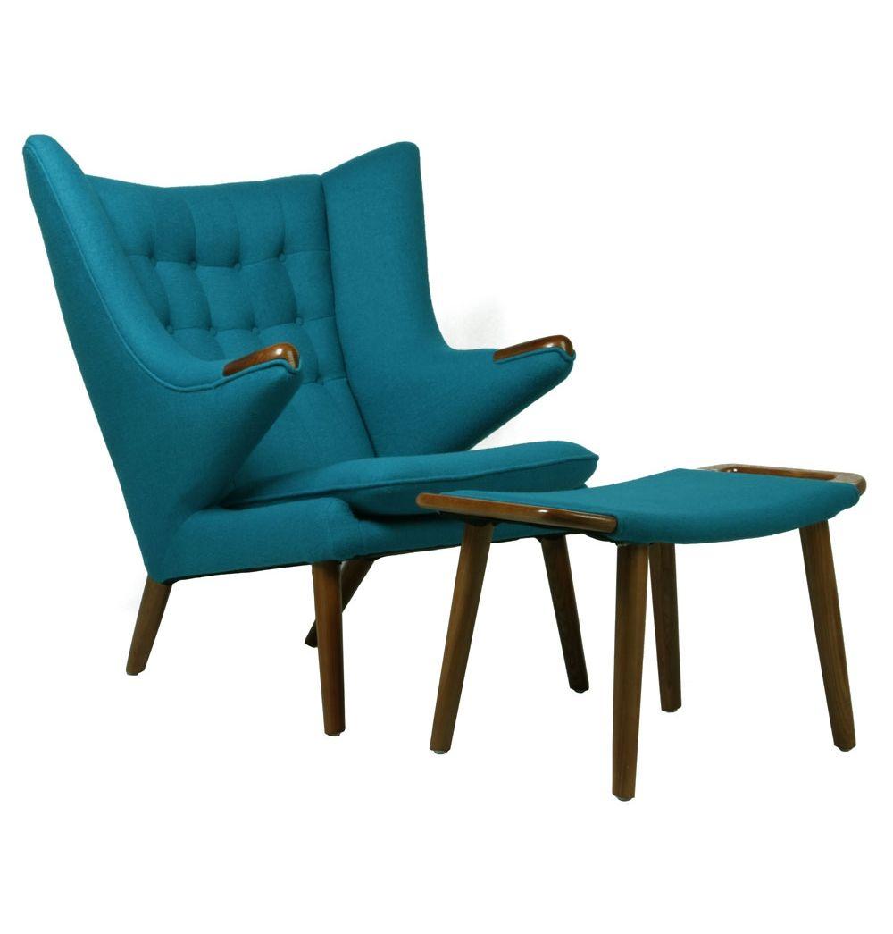 replica hans wegner papa bear chair and ottoman - matt blatt