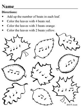Music Worksheets: Music Math {Fall into Rhythm Leaves