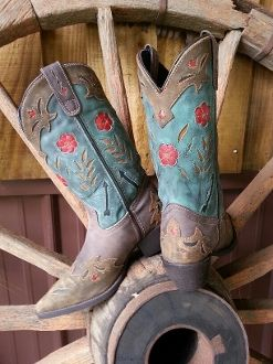 ee6875ddb26 Laredo Boots 52138 Miss Kate Turquoise Boot with Flowers ...