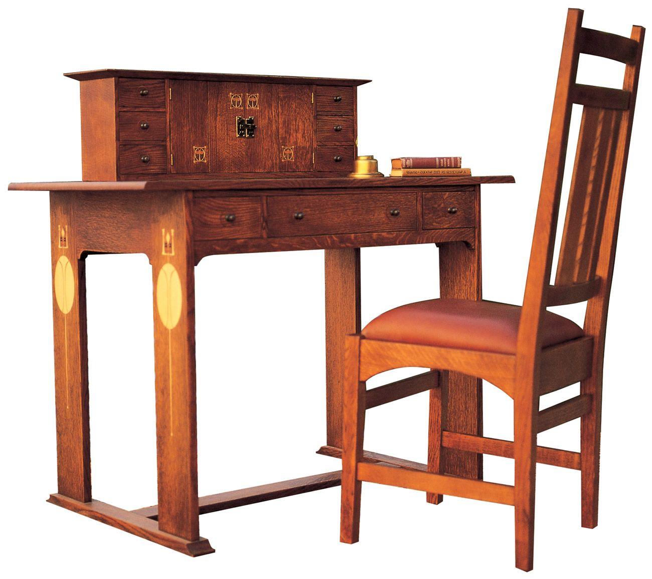 Stickley Furniture Harvey Ellis Desk & Chair with inlay