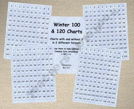 free 100 and 120 charts  K,1,2,3rd grades