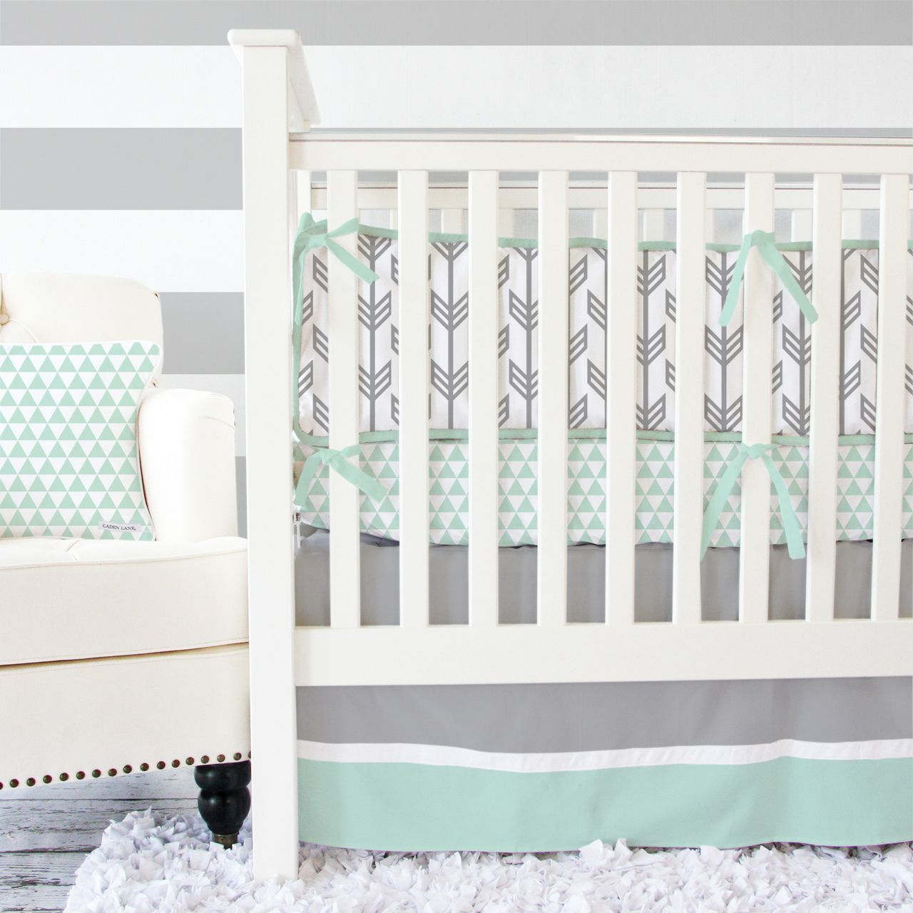 Caden Lane Baby Bedding Brand New Arrow And Mod Triangle In Mint Gray