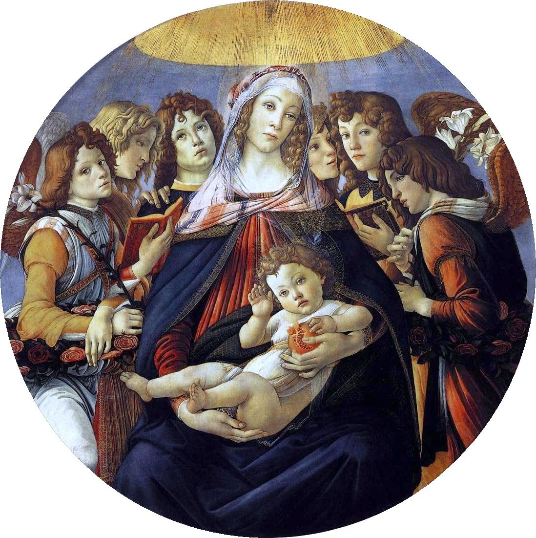 Sandro Botticelli ~ Madonna en Kind met engelen (De Madonna met de granaatappel) ~ ca. 1487 ~ Tondo ~ Tempera op hout ~ Diameter 143,5 cm. ~ Galeria degli Uffizi, Florence