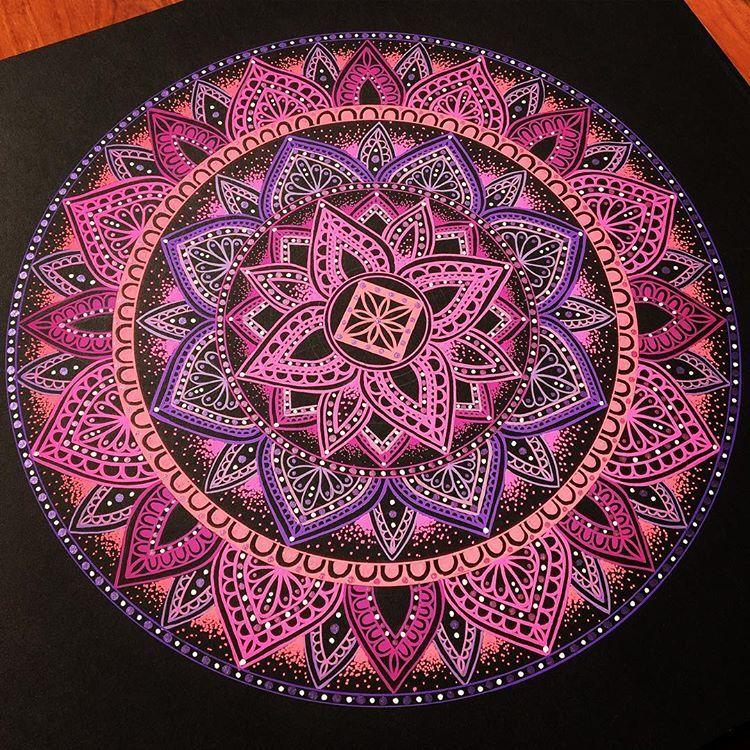 Pink Purple Peach Mandala On Dark Black Background