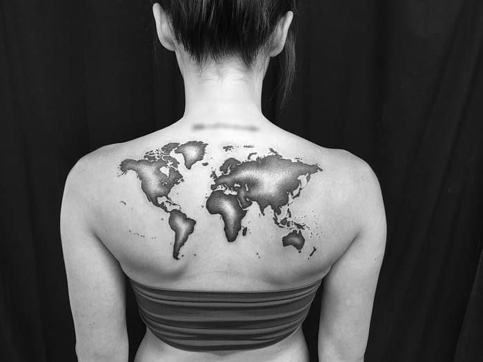 35 best world map tattoo ideas for travel lovers dotwork tattoos dotwork world map tattoo by melissa zimmer gumiabroncs Image collections