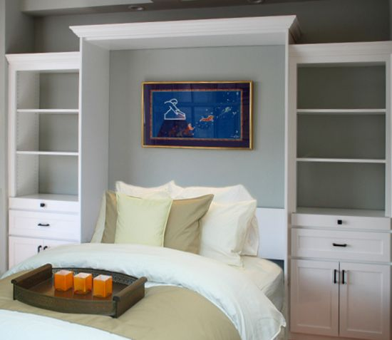 Queen Murphy Wall Bed, Alder, Brite White Paint, Country Shaker Style, Two Side Cabinets $4550.00