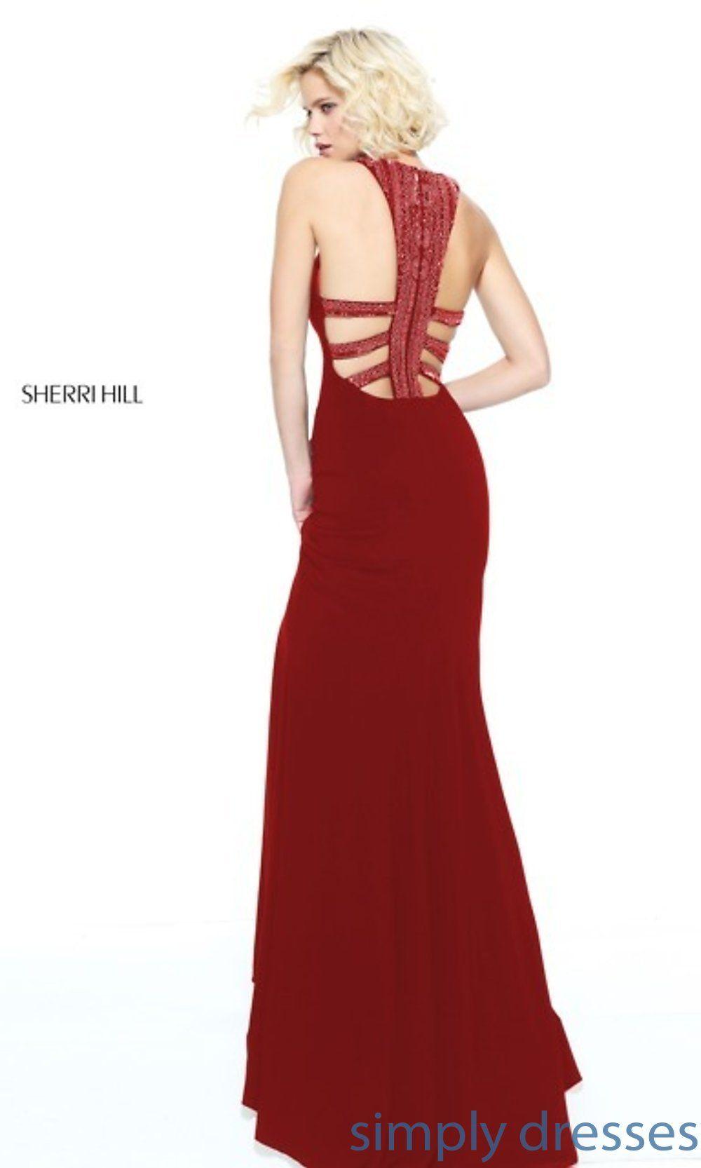 Sherri hill long formal dress with beaded collar in long