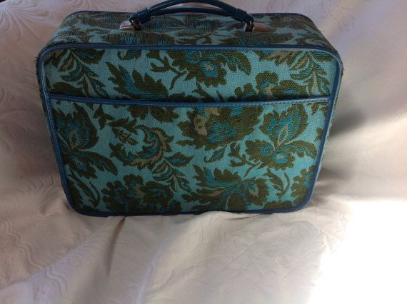 Vintage Tapestry Luggage Green And Turquoise Train Case