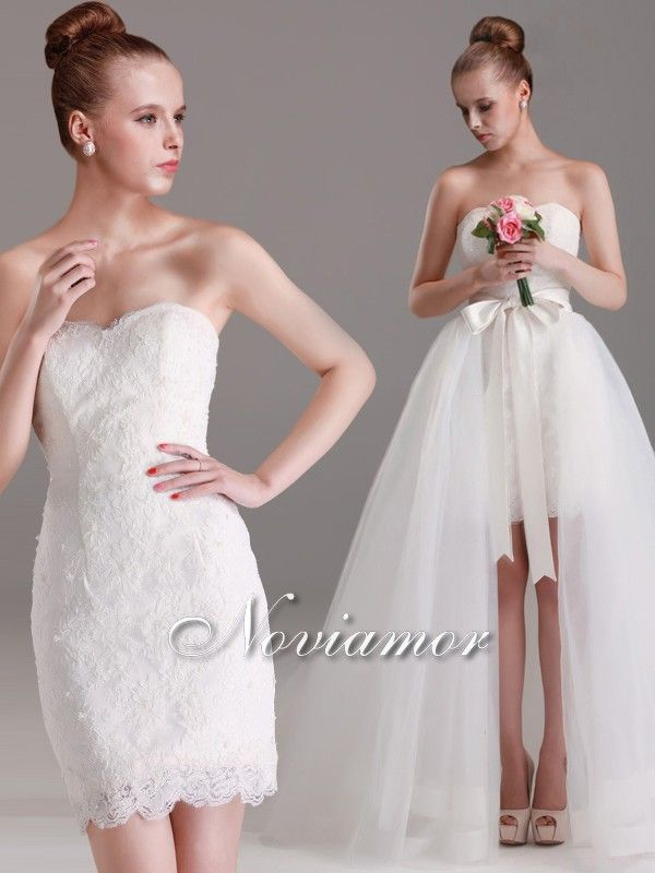 2014 Chic Two-In-One Lace Wedding Dress With Detachable Long Tulle ...