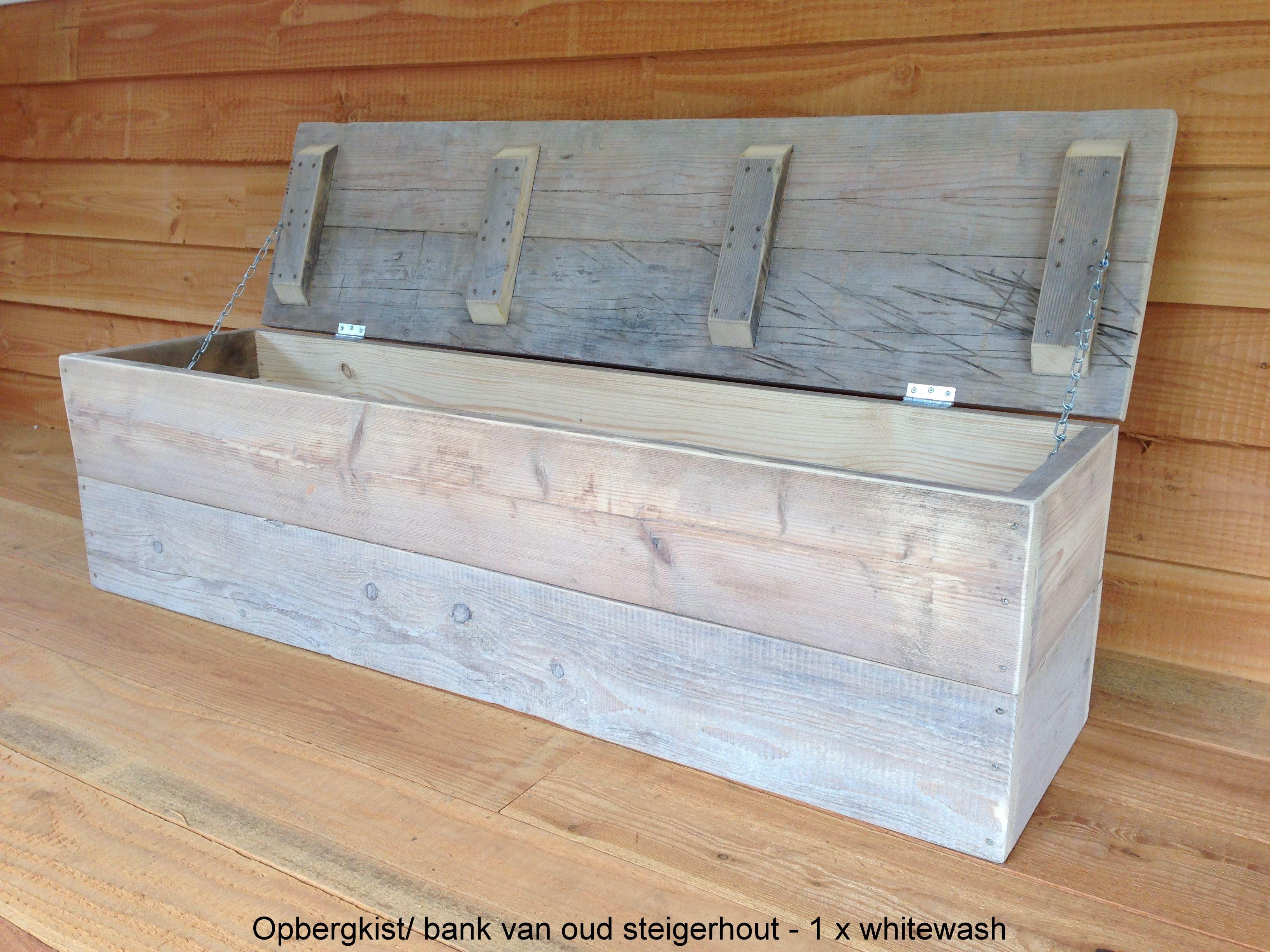 Steigerhouten Opbergkist Bankje.Oud Steigerhout Opbergkist Opbergkist Opbergkist Houten