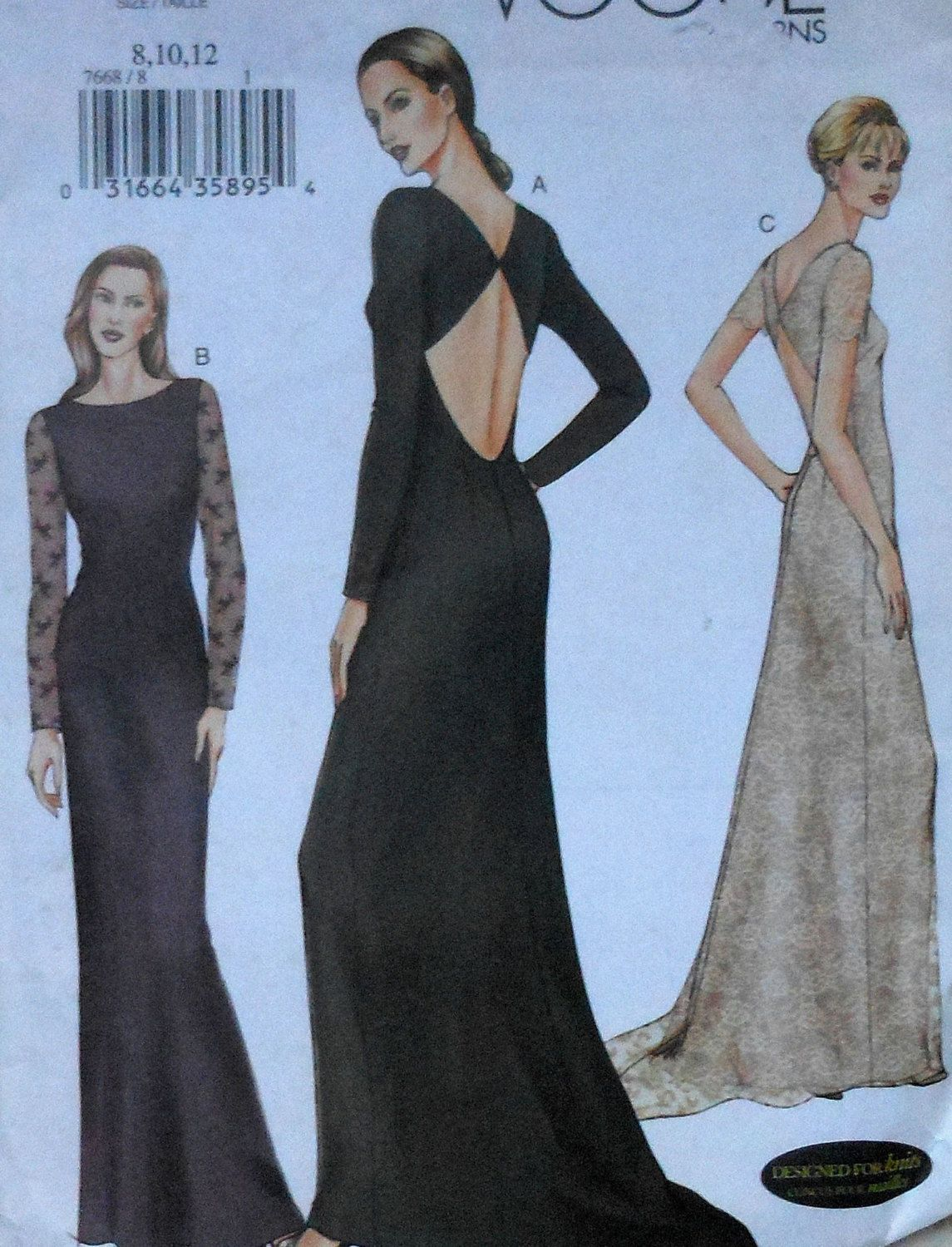 Vogue Open Back Gown Sewing Pattern | Sewing Patterns | Pinterest ...
