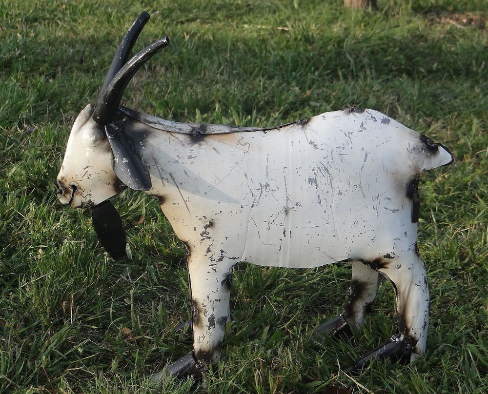 """MEXICAN METAL ART WHITE 16"""" RECYCLED METAL GOAT GARDEN ..."""