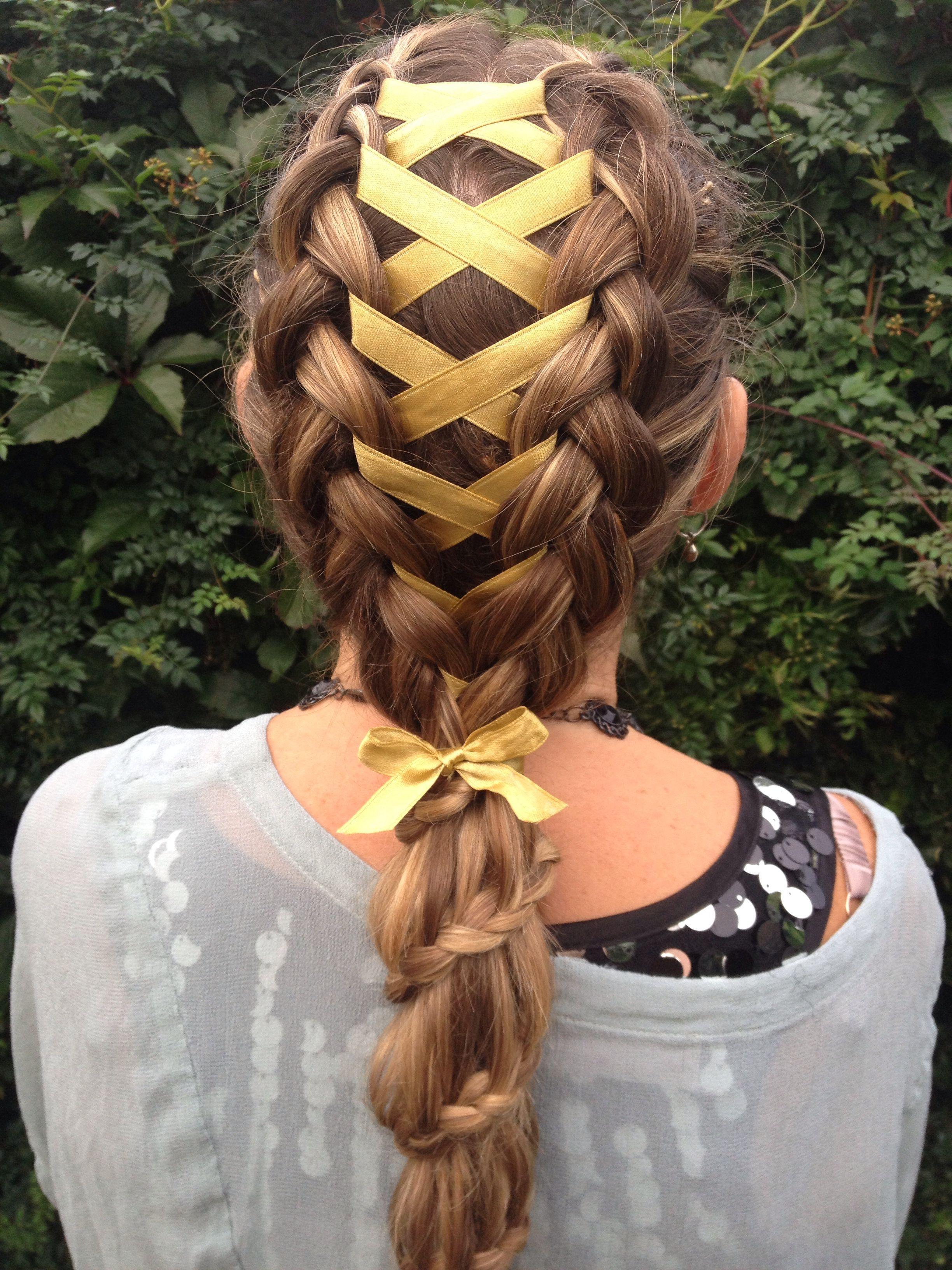 Corset Ribbon Braid Into A Carousel Braided Ponytail Hair Braids Hair Styles Ribbon Hairstyle Braided Hairstyles