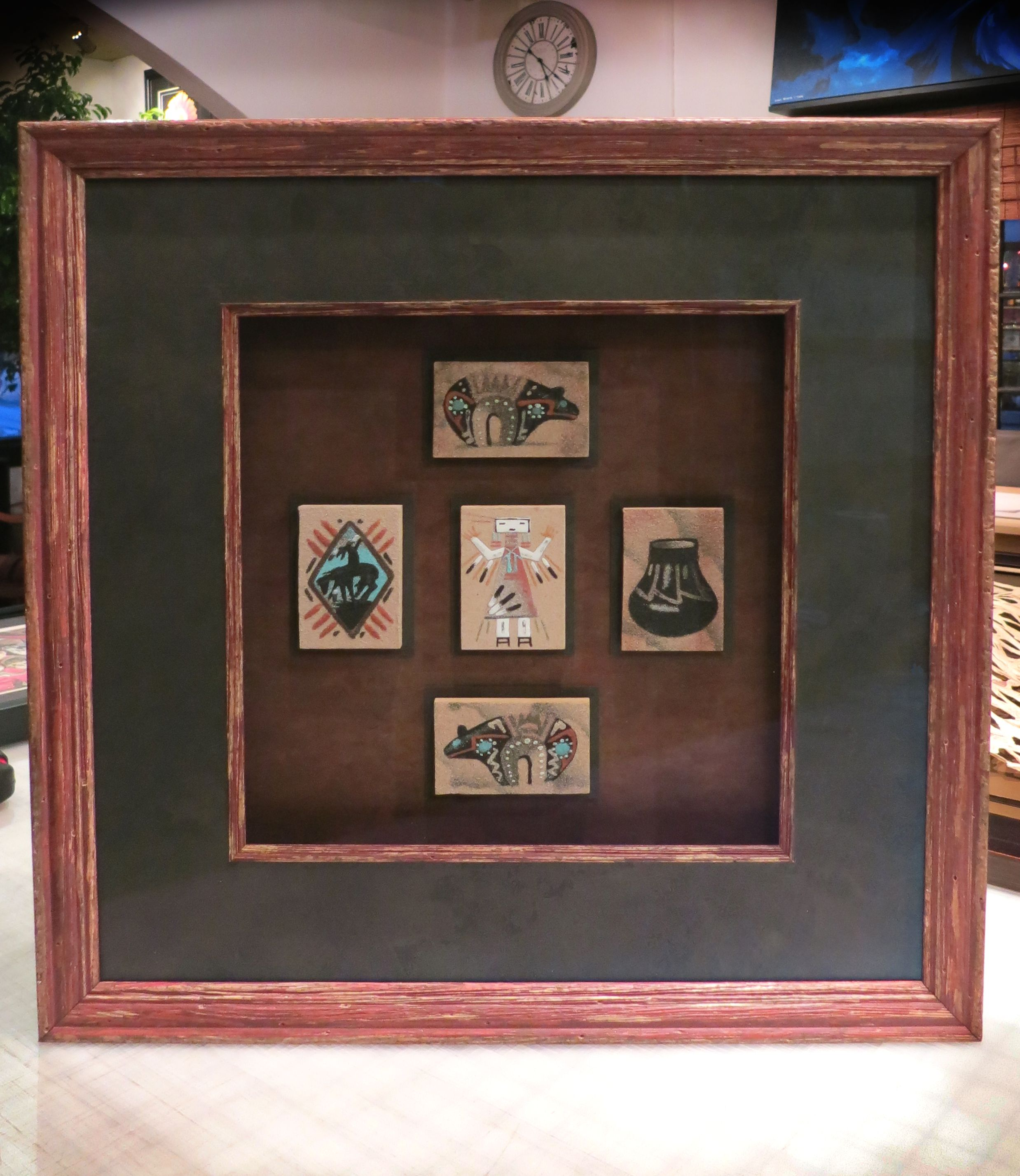 Navajo hand painted tiles shadowbox frame and fillet from navajo hand painted tiles shadowbox frame and fillet from adams larson juhl jeuxipadfo Gallery