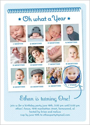 I Like That I Can Have Lots Of Photos In This One Oh What A Year - Birthday invitation cards 1 year old boy