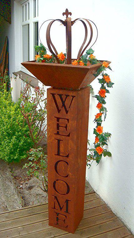 Säule mit Schale Rost Welcome Willkommen Metall Gartendeko
