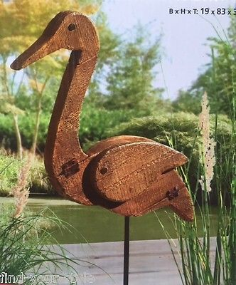 Gartenstecker kranich erdstecker vogel holz optik tier for Deko vogel garten