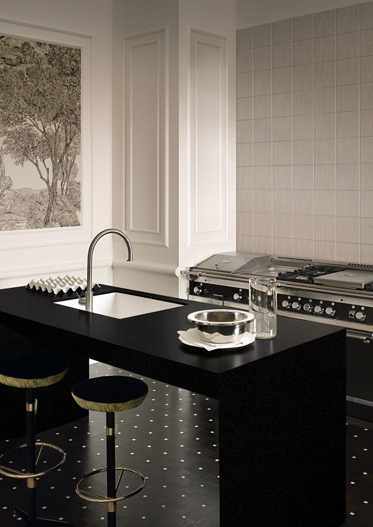arbeitsplatte corian küche dupont edel klassisch schwarz weiss ...
