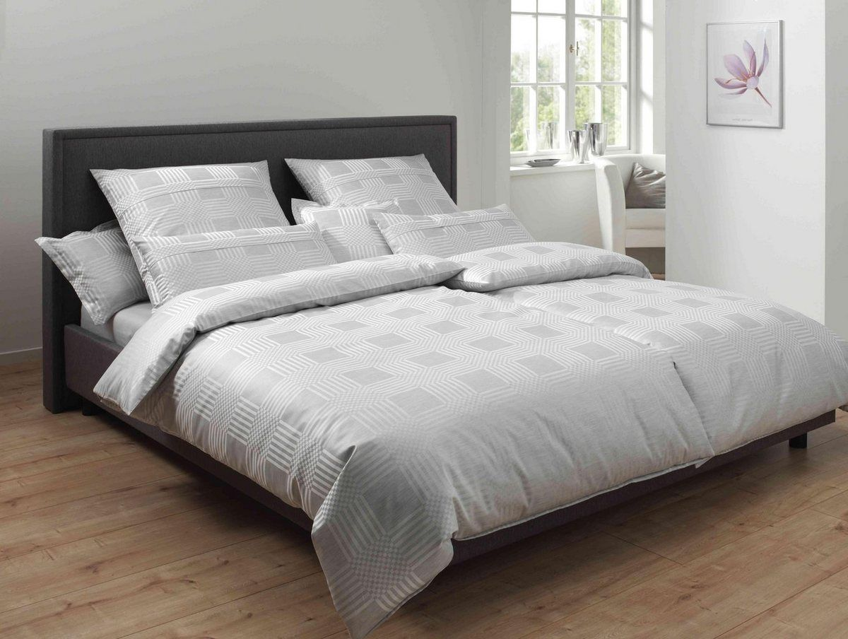 Bettwasche Palladium Mit Vierecken Satin Bettwasche Mako
