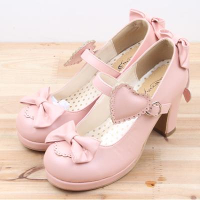 Cute sweet bow lolita heeled shoes