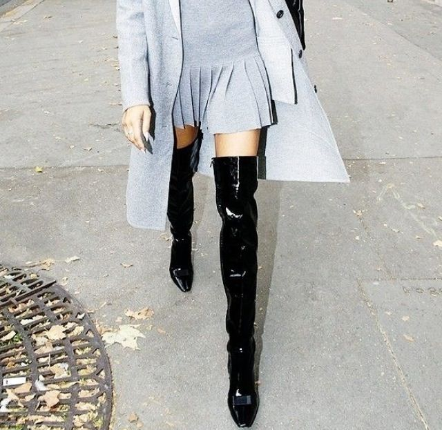 Pleated amazingness with above the knee boots. LOVE.