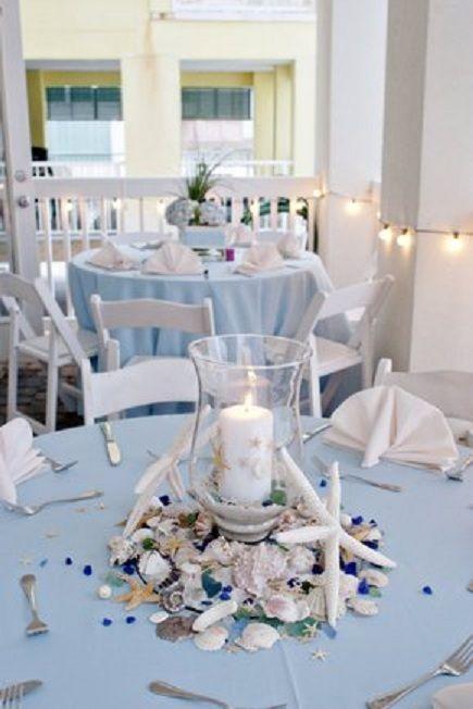 centre de table avec bougie et coquillages pour un mariage sur le th me de la mer. Black Bedroom Furniture Sets. Home Design Ideas