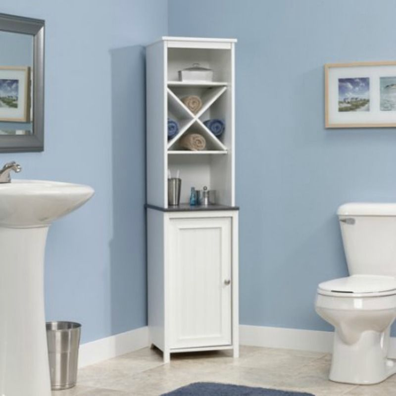 Bathroom Storage Cabinet Tall White Linen Towel Organizer Wood Cupboard Shelves
