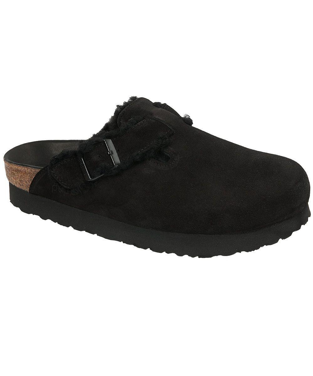 Platform clogs, Black suede