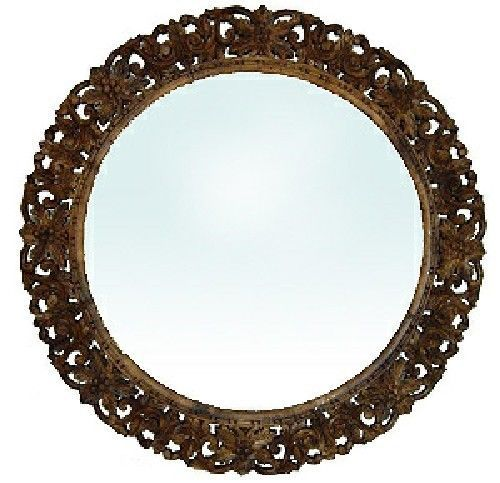 Round Mirrors Hand Carved Wood Frame, Carved Wooden Round Mirror