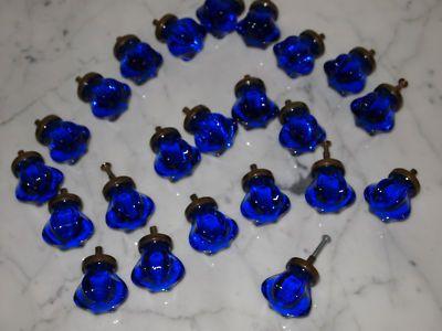 LOVE cobalt blue, LOVE glass, LOVE LOVE LOVE these antique cabinet knobs!!