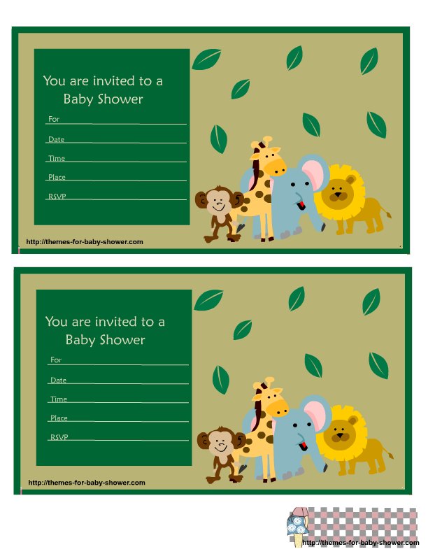 Safari Baby Shower Invitations Featuring Lion Monkey Giraffe And