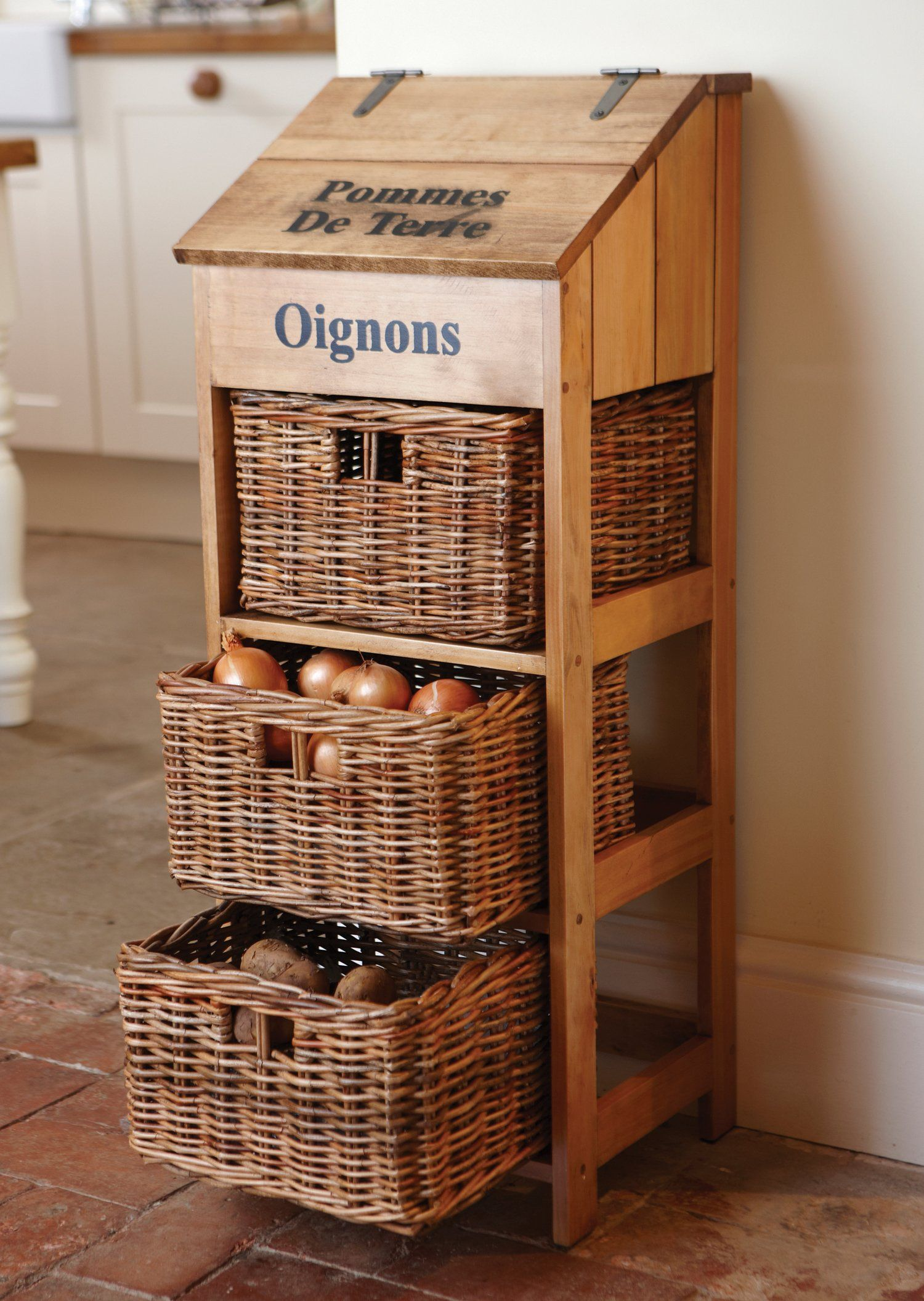 Wooden Vegetable Store with 3 Large Wicker Drawers and