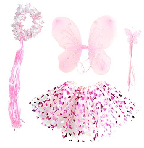Girls Pink Butterfly Fairy Costume with Wings Wand and Halo *** Continue to the  sc 1 st  Pinterest & Girls Pink Butterfly Fairy Costume with Wings Wand and Halo ...