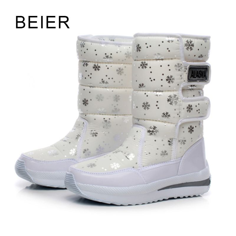 Women Snow Boots Winter Female Ankle Boots Warmer Plush Bowtie Fur